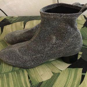 Zara Sock Ankle Boots Silver Sparkle size 37